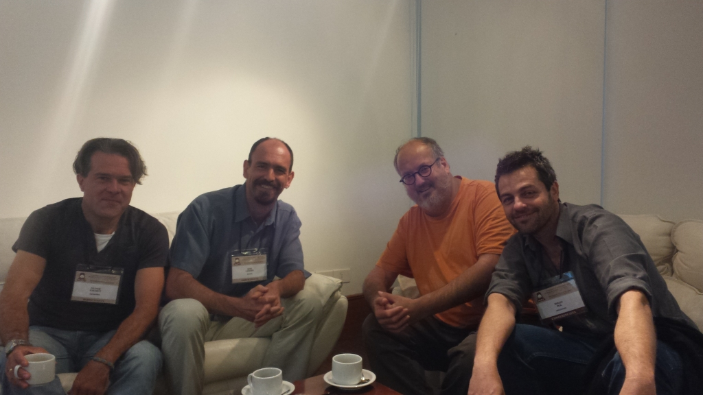 Oliver, Max, Fernando and Diego at the V CLPV meeting in Colonia del Sacramento, Uruguay, 2015