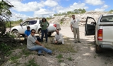 May/2013 field trip - Giovani, Jeanninny, Ana, Max, and Júlio in a quarry